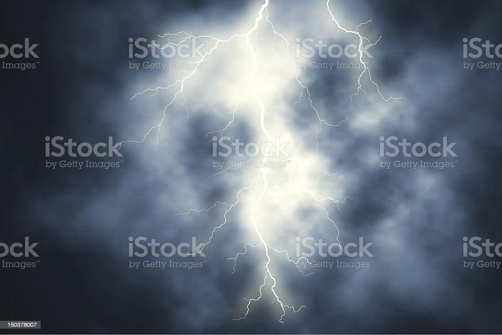 White lightning over a sky of dark clouds vector art illustration