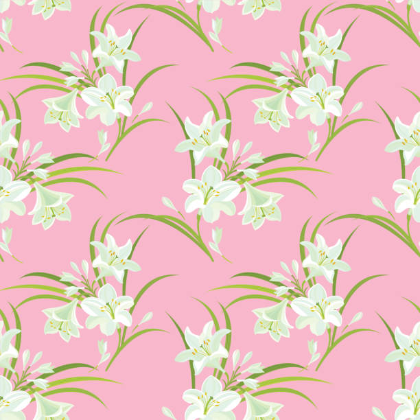 White Lilies. Floral seamless pattern. vector art illustration