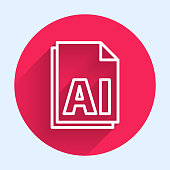 White line AI file document. Download ai button icon isolated with long shadow. AI file symbol. Red circle button. Vector Illustration