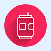 istock White line Beer can icon isolated with long shadow. Red circle button. Vector Illustration 1248992059