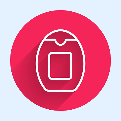 White line Bottle of shampoo icon isolated with long shadow. Red circle button. Vector