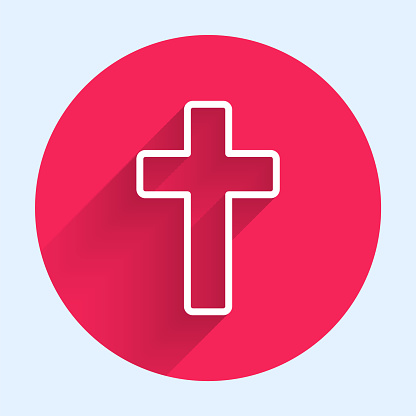 White line Christian cross icon isolated with long shadow. Church cross. Red circle button. Vector Illustration