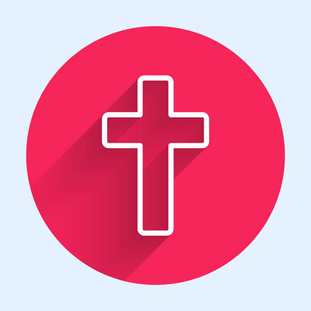 White line Christian cross icon isolated with long shadow. Church cross. Red circle button. Vector Illustration White line Christian cross icon isolated with long shadow. Church cross. Red circle button. Vector Illustration abstract clipart stock illustrations