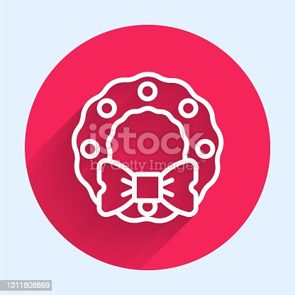 istock White line Christmas wreath icon isolated with long shadow. Merry Christmas and Happy New Year. Red circle button. Vector 1311808869