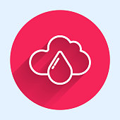 White line Cloud with rain icon isolated with long shadow. Rain cloud precipitation with rain drops. Red circle button. Vector Illustration