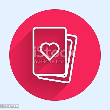 istock White line Deck of playing cards icon isolated with long shadow. Casino gambling. Red circle button. Vector 1271987996