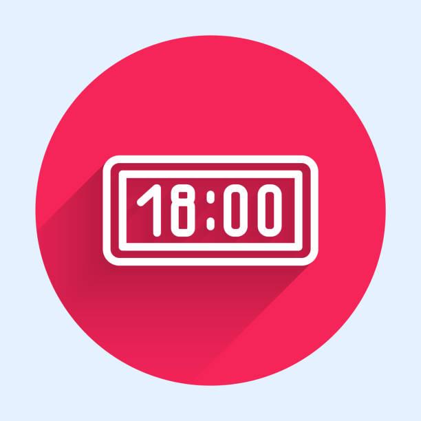 ilustrações de stock, clip art, desenhos animados e ícones de white line digital alarm clock icon isolated with long shadow. electronic watch alarm clock. time icon. red circle button. vector illustration - led painel