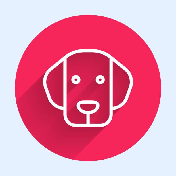 bildbanksillustrationer, clip art samt tecknat material och ikoner med vit linje dog ikon isolerad med lång skugga. röd cirkel-knapp. vektor - hunddjur