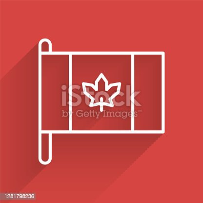 White line Flag of Canada icon isolated with long shadow. North America country flag on flagpole. Vector.