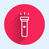 White line Flashlight icon isolated with long shadow. Red circle button. Vector Illustration