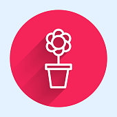 White line Flower in pot icon isolated with long shadow. Plant growing in a pot. Potted plant sign. Red circle button. Vector Illustration