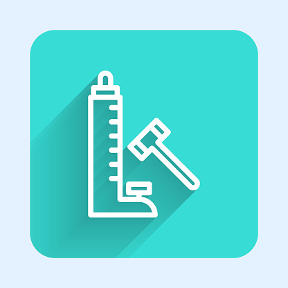 White line High striker attraction with big hammer icon isolated with long shadow. Attraction for measuring strength. Amusement park. Green square button. Vector