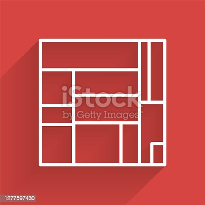istock White line House Edificio Mirador icon isolated with long shadow. Mirador social housing by MVRDV architects in Madrid, Spain. Vector 1277597430