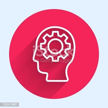 624717328 istock photo White line Human head with gear inside icon isolated with long shadow. Artificial intelligence. Thinking brain. Symbol work of brain. Red circle button. Vector Illustration 1252476821