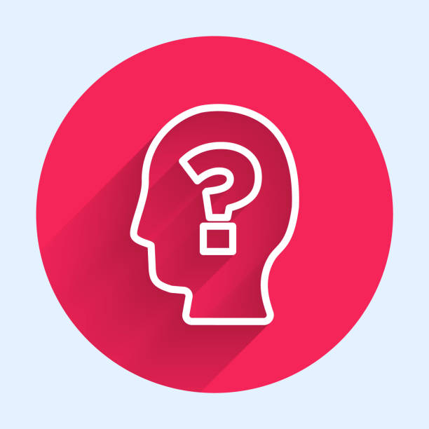 White line Human head with question mark icon isolated with long shadow. Red circle button. Vector White line Human head with question mark icon isolated with long shadow. Red circle button. Vector. one man only stock illustrations