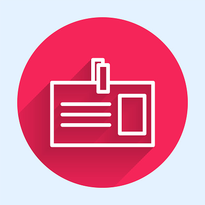 White line Identification badge icon isolated with long shadow. It can be used for presentation, identity of the company, advertising. Red circle button. Vector Illustration
