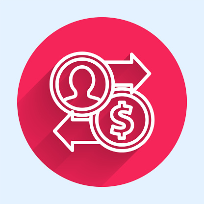 White line Job promotion exchange money icon isolated with long shadow. Success, achievement, motivation business symbol, growth. Red circle button. Vector Illustration