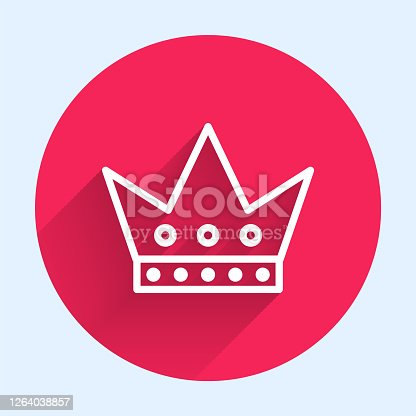 istock White line King playing card icon isolated with long shadow. Casino gambling. Red circle button. Vector Illustration 1264038857