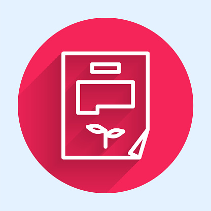 White line Leaf document icon isolated with long shadow. Nature file icon. Red circle button. Vector Illustration