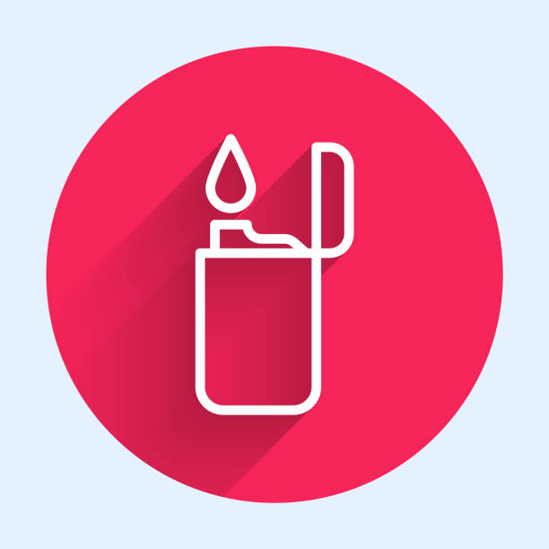 White line Lighter icon isolated with long shadow. Red circle button. Vector Illustration White line Lighter icon isolated with long shadow. Red circle button. Vector Illustration hot pockets stock illustrations