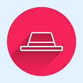 istock White line Man hat with ribbon icon isolated with long shadow. Red circle button. Vector Illustration 1269296351