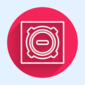 White line Manhole sewer cover icon isolated with long shadow. Red circle button. Vector Illustration