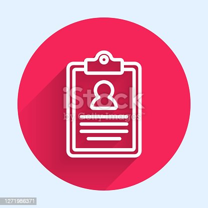 istock White line Medical clipboard with clinical record icon isolated with long shadow. Prescription, medical check marks report. Red circle button. Vector 1271986371