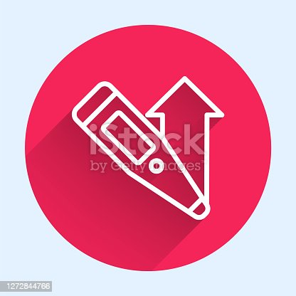 istock White line Medical digital thermometer for medical examination icon isolated with long shadow. Red circle button. Vector 1272844766