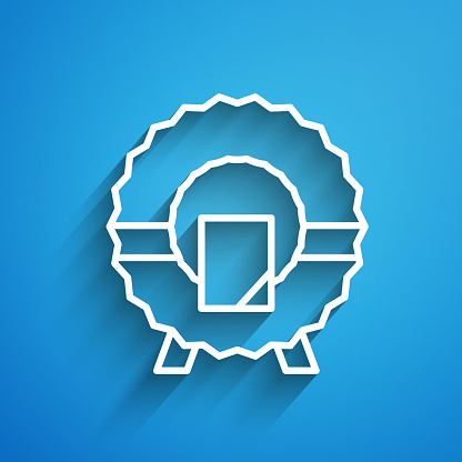 White line Memorial wreath icon isolated on blue background. Funeral ceremony. Long shadow. Vector