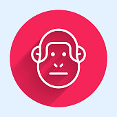 White line Monkey icon isolated with long shadow. Animal symbol. Red circle button. Vector.