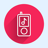 istock White line Music player icon isolated with long shadow. Portable music device. Red circle button. Vector Illustration 1266456065