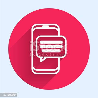 istock White line New chat messages notification on phone icon isolated with long shadow. Smartphone chatting sms messages speech bubbles. Red circle button. Vector Illustration 1271392064