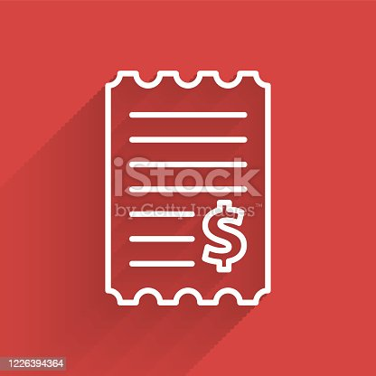 White line Paper check and financial check icon isolated with long shadow. Paper print check, shop receipt or bill. Vector Illustration