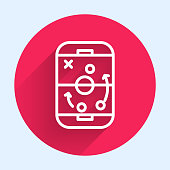 istock White line Planning strategy concept icon isolated with long shadow. Hockey cup formation and tactic. Red circle button. Vector Illustration 1253904485