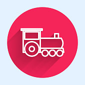 White line Retro train icon isolated with long shadow. Public transportation symbol. Red circle button. Vector Illustration