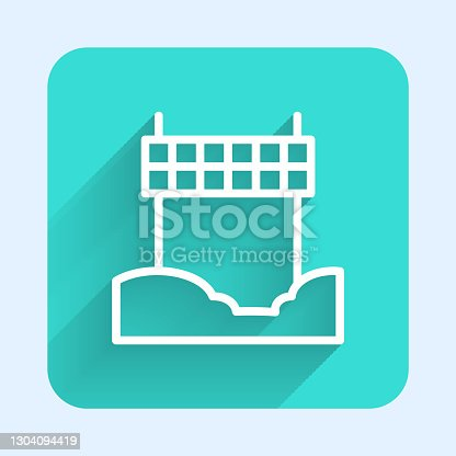 istock White line Ribbon in finishing line icon isolated with long shadow. Symbol of finish line. Sport symbol or business concept. Green square button. Vector 1304094419