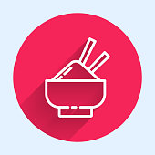 istock White line Rice in a bowl with chopstick icon isolated with long shadow. Traditional Asian food. Red circle button. Vector Illustration 1271579436