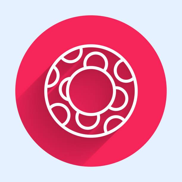 bildbanksillustrationer, clip art samt tecknat material och ikoner med vit linje gummi simning ring ikon isolerad med lång skugga. livräddande flytande livboj för stranden, räddningsbälte för att rädda människor. röd cirkelknapp. vektor illustration - inflatable ring