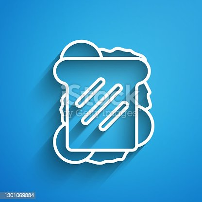 istock White line Sandwich icon isolated on blue background. Hamburger icon. Burger food symbol. Cheeseburger sign. Street fast food menu. Long shadow. Vector 1301069884