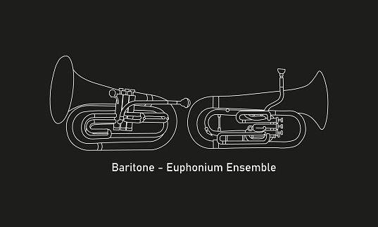 White line, shape or outline forms of musical instruments as baritone and euphonium ensemble in simple white contour illustration