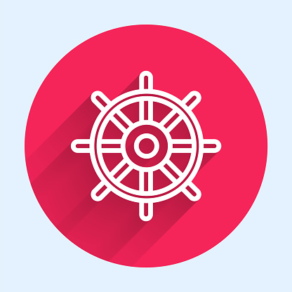 White line Ship steering wheel icon isolated with long shadow. Red circle button. Vector Illustration