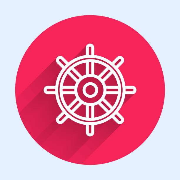 White line Ship steering wheel icon isolated with long shadow. Red circle button. Vector Illustration White line Ship steering wheel icon isolated with long shadow. Red circle button. Vector Illustration adventure clipart stock illustrations