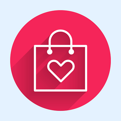 White line Shopping bag with heart icon isolated with long shadow. Shopping bag shop love like heart icon. Valentines day symbol. Red circle button. Vector Illustration