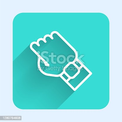 White line Smart watch on hand icon isolated with long shadow. Fitness App concept. Green square button. Vector.