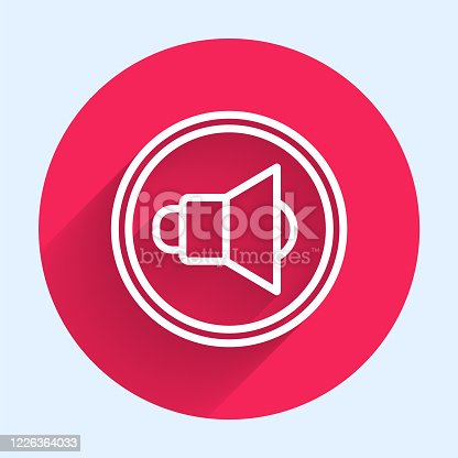 istock White line Speaker volume, audio voice sound symbol, media music icon isolated with long shadow. Red circle button. Vector Illustration 1226364033