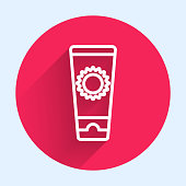 White line Sunscreen cream in tube icon isolated with long shadow. Protection for the skin from solar ultraviolet light. Red circle button. Vector Illustration