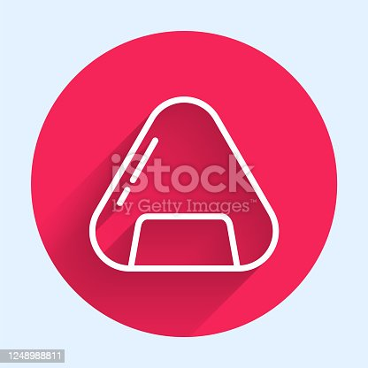 istock White line Sushi icon isolated with long shadow. Traditional Japanese food. Red circle button. Vector Illustration 1248988811