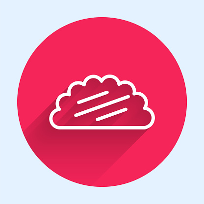 White line Taco with tortilla icon isolated with long shadow. Traditional mexican fast food menu. Red circle button. Vector Illustration