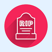White line Tombstone with RIP written on it icon isolated with long shadow. Grave icon. Red circle button. Vector