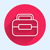 istock White line Toolbox icon isolated with long shadow. Tool box sign. Red circle button. Vector Illustration 1256666321